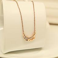 Kvinners Sjarmerende Crystal Angle Pattern Rose Gold Kort halskjede
