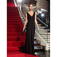 Formal Evening/Military Ball Dress - Black Plus Sizes Sheath/Column V-neck Sweep/Brush Train Jersey