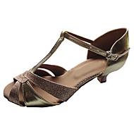 Customizable Women's Dance Shoes Latin/Ballroom Leather/Sparkling Glitter Customized Heel Black/Gold