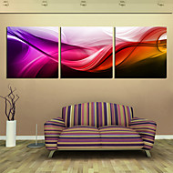 Stretched Canvas Print Art Abstract Red Wave Set of 3