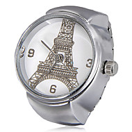 Unisex Eiffel Tower Pattern Round Dial Alloy Quartz Analog Ring Watch Cool Watches Unique Watches