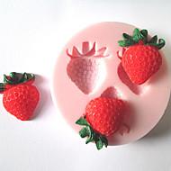 drie gaten aardbei fruit siliconen mal fondant mallen suiker ambachtelijke gereedschap chocolade mal voor gebak