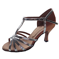 Customizable Women's Dance Shoes Latin/Ballroom Satin/Patent Leather Customized Heel Silver