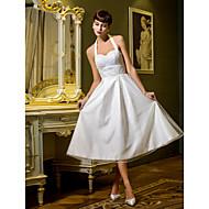 Lanting A-line/Princess Wedding Dress - Ivory Tea-length Halter Tulle