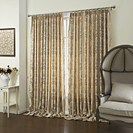 Country Two Panels Floral  Botanical Khaki Bedroom Polyester Panel Curtains Drapes