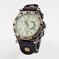 Unisex Vintage Big Dial Roma Header Leather Band Quartz Analog Wrist Watch (Assorted Colors) Cool Watch Unique Watch