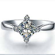 Women's Silver/Sterling Silver/Platinum Plated Ring Diamond Silver/Sterling Silver/Platinum Plated