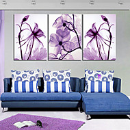 Stretched Canvas Print Art Botanical Purple Petals Set of 3