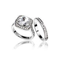 Women's / Men's / Couples' / Unisex Alloy / Platinum Plated Ring Rhinestone / Cubic Zirconia Alloy / Platinum Plated