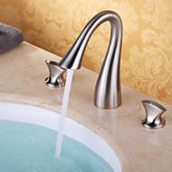 現代風 組み合わせ式 滝状吐水タイプ with  セラミックバルブ 二つのハンドル三穴 for  ブラッシュドニッケル , バスルームのシンクの蛇口
