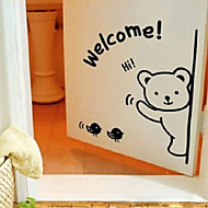 Cute Cartoon Welcoming Bear Window Stickers