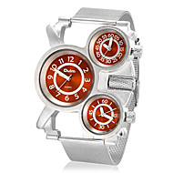 Men's Three Time Zones Round Dial Steel Band Quartz Analog Wrist Watch (Assorted Colors) Cool Watch Unique Watch