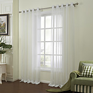 (Two Panels) Neoclassical White Solid Stripe Poly/Linen Sheer Curtain