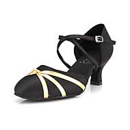 Non Customizable Women's Dance Shoes Modern/Ballroom Satin Stiletto Heel Black
