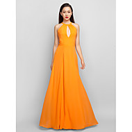 TS Couture® Formal Evening / Prom / Military Ball Dress - Orange Plus Sizes / Petite A-line Halter Floor-length Chiffon