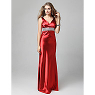 Formal Evening/Prom/Military Ball Dress - Ruby Sheath/Column Straps Floor-length Stretch Satin