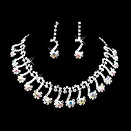 Nupcial do casamento da dama de honra de cristal colar de brincos conjunto de jóias