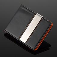 Gepersonaliseerd cadeau - geldclip van zilverkleurig metaal en PU leer (max. 10 tekens)
