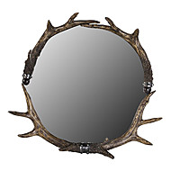 "24.5""H Country Style Antlers Wall Mirror"