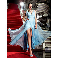 TS Couture Formele avonden Militair gala Jurk - Blote rug Celebrity-Stijl Strak/kolom V-hals Tot de grond Chiffon metSplit voorzijde