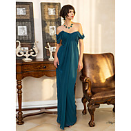 Formal Evening / Military Ball Dress - Open Back Plus Size / Petite Sheath / Column Sweetheart Floor-length Georgette withSide Draping /