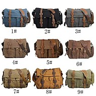 Men's Vintage Casual Style Canvas and Cowhide Messenger Bag
