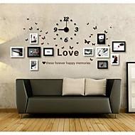 Black White Färg Foto Wall Frame Collection Set med 11 med DIY en Väggklocka