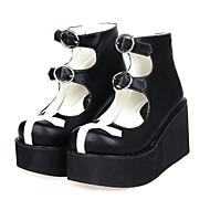 Lolita Shoes Gothic Lolita Lolita Platform Shoes Patchwork 8 CM White / Black For Women PU Leather/Polyurethane Leather