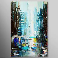 Pintado a mano la pintura al óleo del paisaje del barco de navegación con el marco de estirado listo para colgar