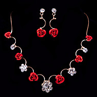 Flowers Ladies'/Women's Alloy Wedding/Party Jewelry Set With Rhinestone