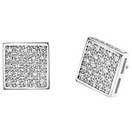 Classic Gold Or Silver Plated With Cubic Zirconia Square Women's Earrings(More Colors)