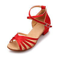 Women And Kids' Satin Hollow-out Cross Stripe Chunky Heel Sandals Dance Shoes (More Colors)