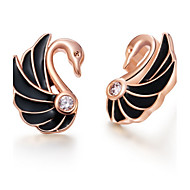 Fashionable Gold Or Silver Plated With Cubic Zirconia Swan Black Women's Earrings(More Colors)