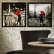 Pessoas / Arquitetura Quadros Emoldurados / Conjunto Emoldurado Wall Art,PVC Preto Sem Cartolina de Passepartout com frame Wall Art