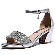 Women's Summer Mary Jane Leather Dress Chunky Heel Rhinestone