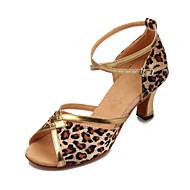 Non Customizable Women's Dance Shoes Latin/Ballroom Satin/Leatherette Chunky Heel Leopard