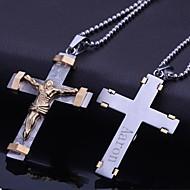 Presente personalizado Jóias de aço inoxidável em forma de Cruz de Jesus Pingente Gravado Jóias com 60 centímetros Cadeia