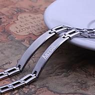 Personalisierte Geschenk Einfache Design Silber-Schmuck für Herren Edelstahl Gravur ID Armbänder 0,8 cm Breite