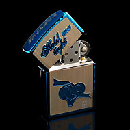 Personalized Father's Day Gift Engraved Heart Pattern Silver Oil Lighter