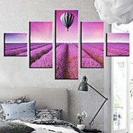 Stretched Canvas Art Landscape The Fantasy of Lavender Set av 5