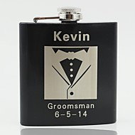 Gift Groomsman Personalized Black Stainless Steel 6-oz Flask - Men's suits