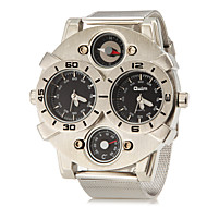 Masculino Relógio Militar Relógio de Pulso Quartzo Dois Fusos Horários Aço Inoxidável Banda Prata Branco Preto