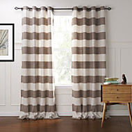 Modern Two Panels Stripe Brown Bedroom Cotton Panel Curtains Drapes