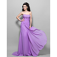 Prom / Formal Evening / Military Ball Dress - Lilac Plus Sizes / Petite Trumpet/Mermaid Strapless Sweep/Brush Train Chiffon