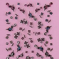 3D-Design Schwarz Vier-blättrige Kleeblatt-Muster Strass Nail Art Sticker