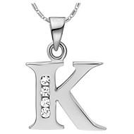 Мода К-Логотип сплава Женская ожерелье с Rhinestone (1 шт) (золото, серебристый)