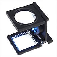 10X Metal Folding Pocket Korut Luuppi suurennuslasi suurennuslasi Scale ja LED