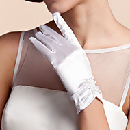 Wrist Length Fingertips Glove Satin Bridal Gloves Spring / Summer / Fall / Winter Ivory Pleated