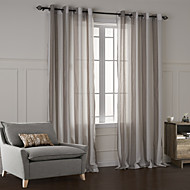 Two Panels Modern Plaid/Check Champagne Bedroom Cotton Panel Curtains Drapes