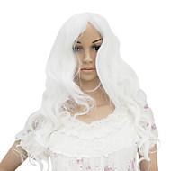 senza tappo lungo resistente al calore parrucca moda partito costume bianco